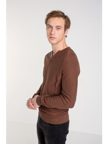 pull homme maille chinee marron