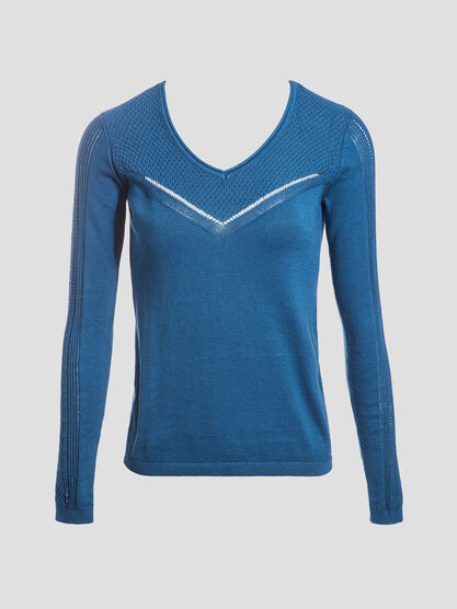 Pull manches longues ajoure bleu canard femme