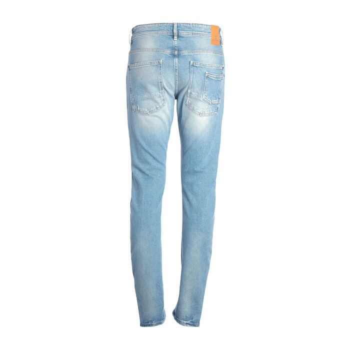 Jeans slim destroy 6 poches denim bleach homme