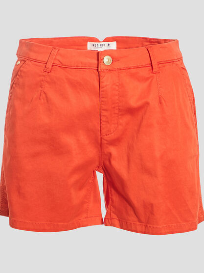 Short chino eco responsable rouge corail femme