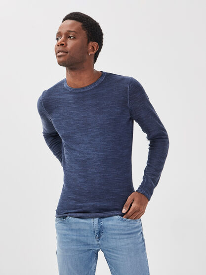 Pull manches longues bleu fonce homme