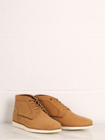 bottines cuir a lacets homme jaune moutarde