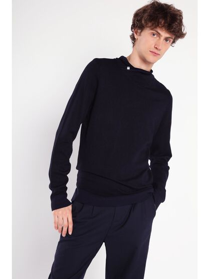 pull col croise homme bleu fonce