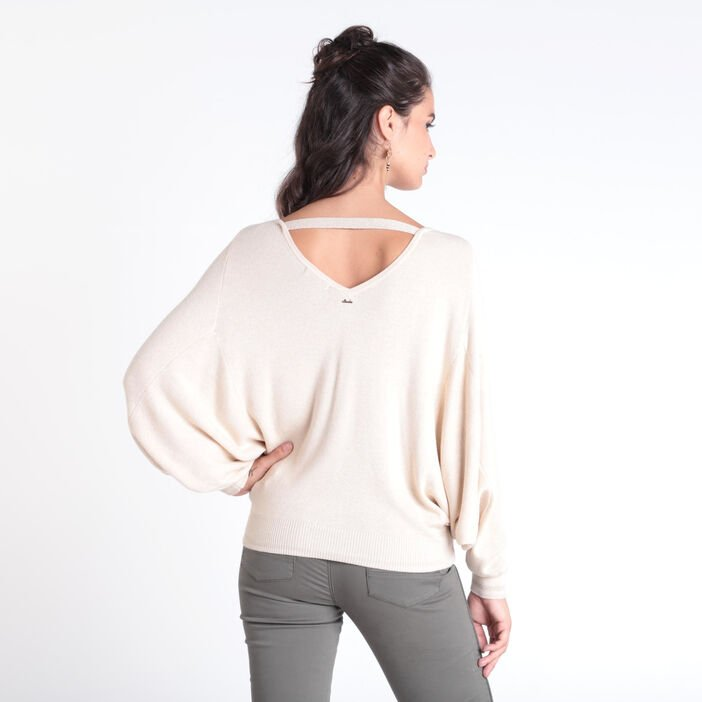Pull manches longues col rond creme femme
