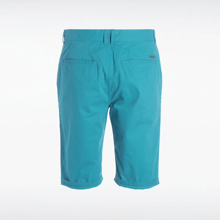 Bermuda chino droit coton vert turquoise homme