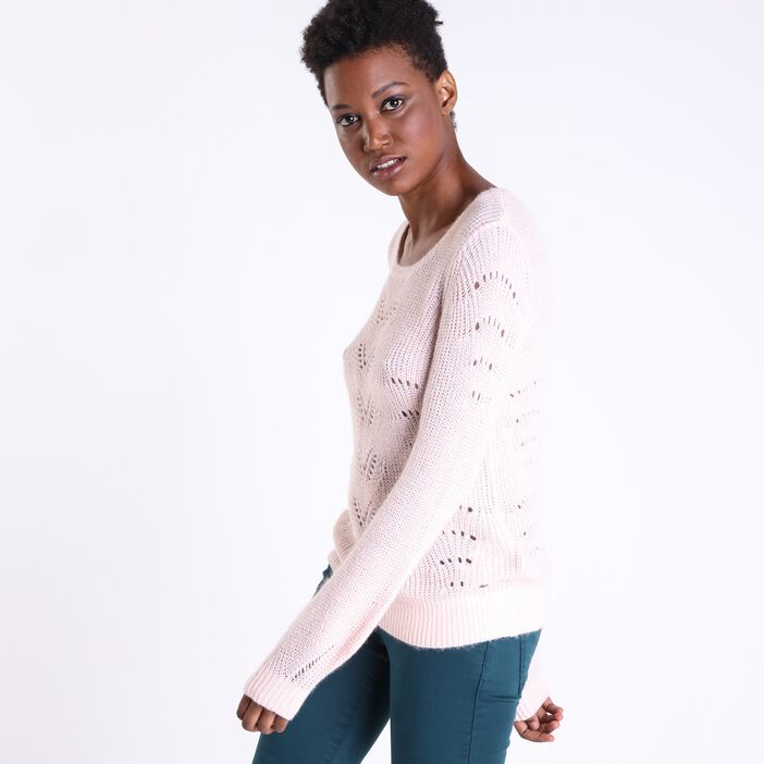 Pull col rond femme maille ajourée ROSE CLAIR