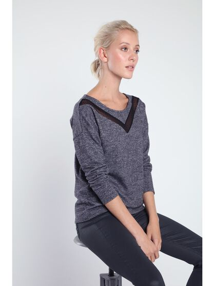 pull col rond femme empiecement plumetis gris