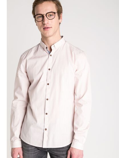 chemise droite homme fines rayures rose saumon