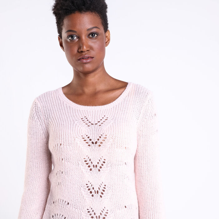 Pull col rond maille ajourée rose clair femme