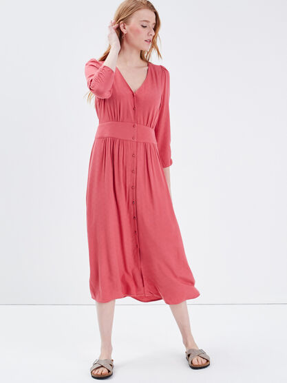 Robe longue evasee manches 34 terracotta femme