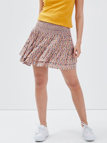 Jupe evasee a volants multicolore femme