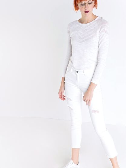 pantalon regular femme destroy white