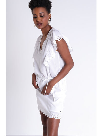 Robe droite a volants brodes blanc femme