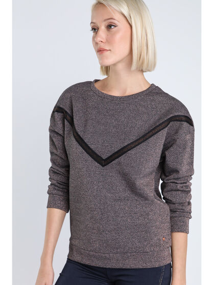 Sweat col rond irise detail V bordeaux femme