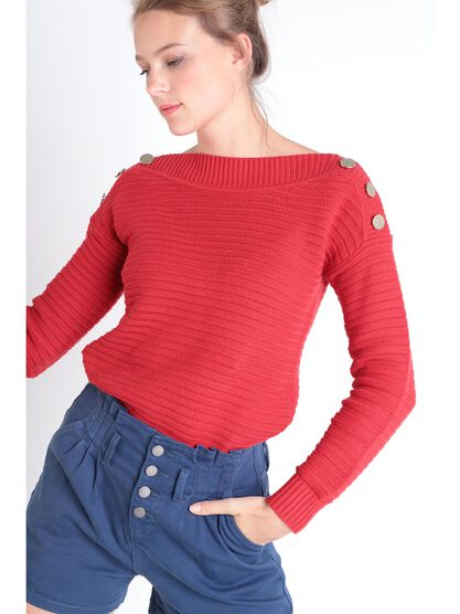 Pull manches longues a boutons rouge fluo femme