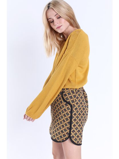 pull col rond femme maille fantaisie jaune or