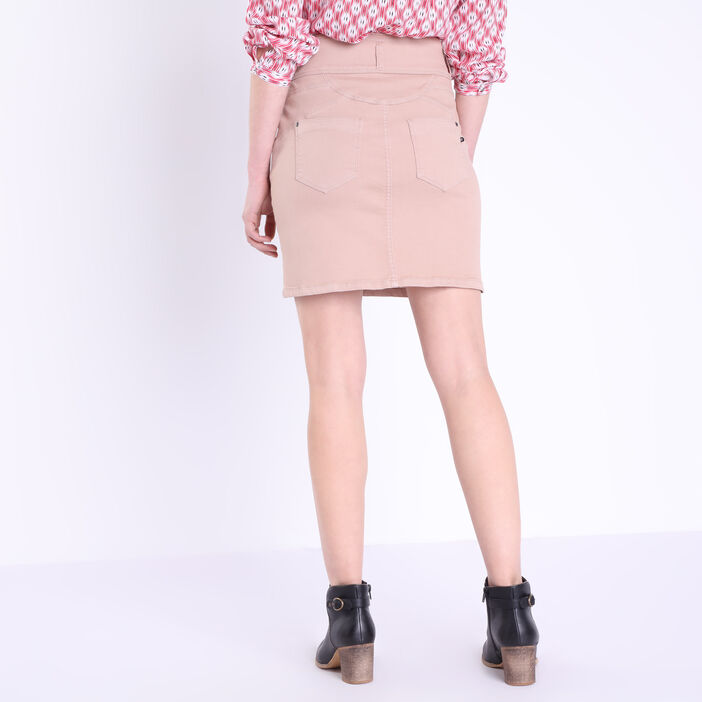 Jupe droite taille haute taupe femme