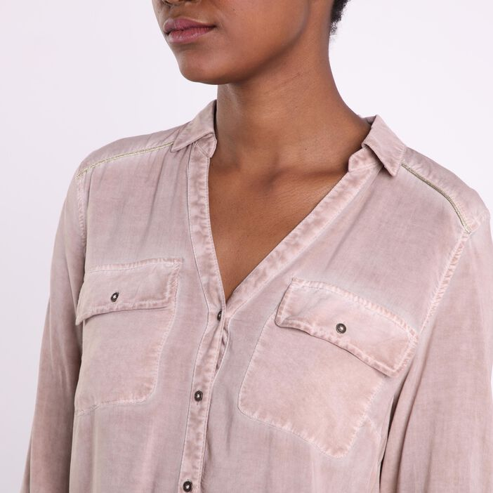 Chemise manches longues taupe femme
