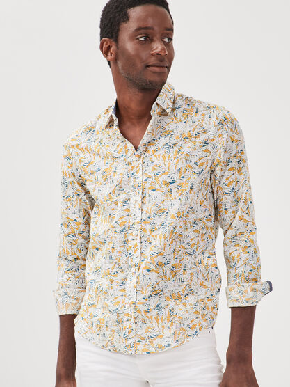 Chemise manches longues jaune homme