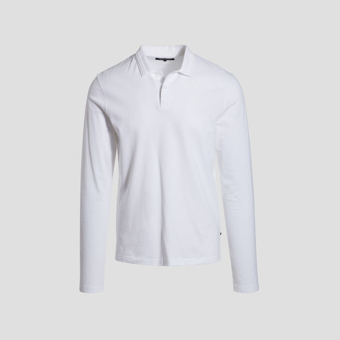 Polo manches longues blanc homme