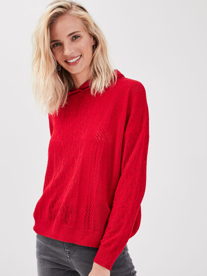 Pull manches longues a capuche rouge femme