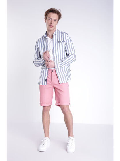 Bermuda chino a revers rose clair homme