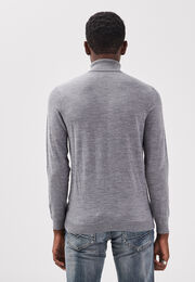 Pull col roule 100 laine merinos gris fonce homme