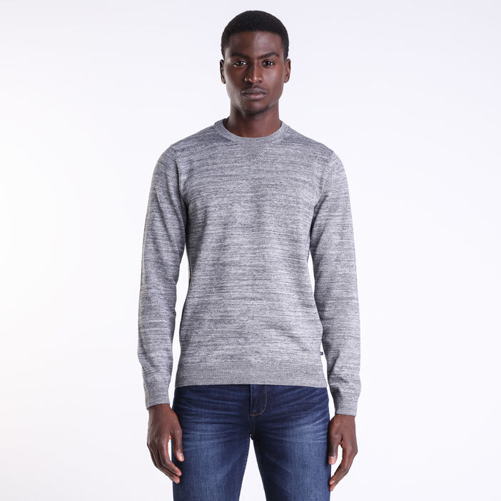 Pull col rond maille Instinct gris clair homme