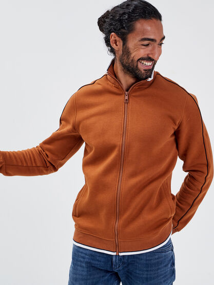 Sweat manches longues zippe camel homme