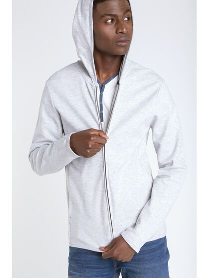 sweat col zippe homme capuche instinct gris clair