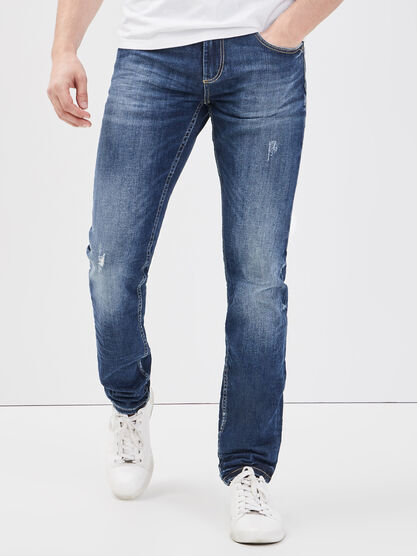 Jeans slim effet destroy denim dirty homme