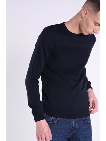 pull col rond homme maille relief bleu fonce