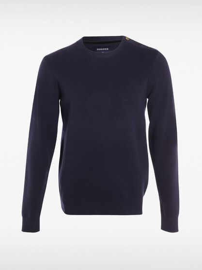 pull col rond homme boutons epaule bleu marine