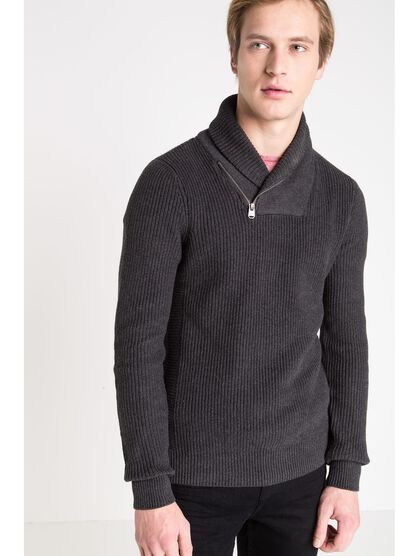 pull col chale homme instinct gris fonce