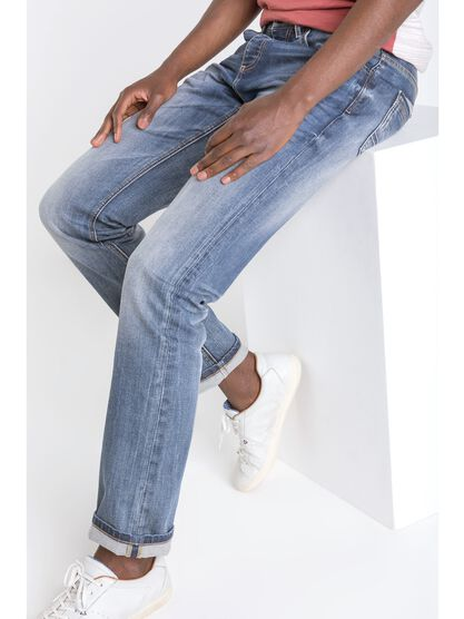 jeans homme regular effet used denim stone