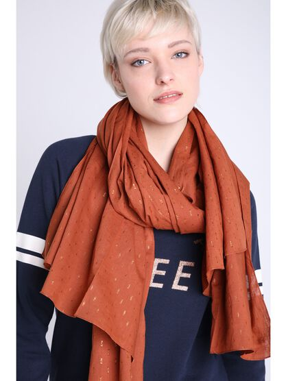 foulard fin details metallises orange fonce