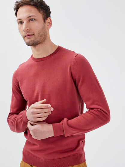 Sweat col rond orange fonce homme