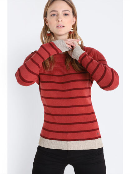 Pull manches longues a boutons orange fonce femme