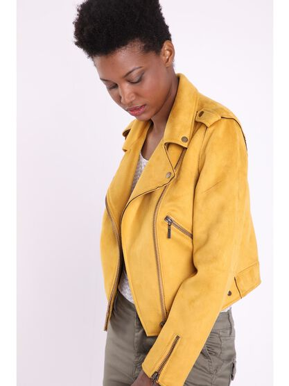 veste cintree courte suedee jaune or