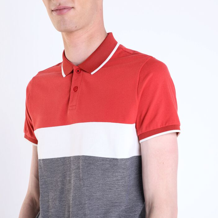 Polo col simple homme color block ROUGE