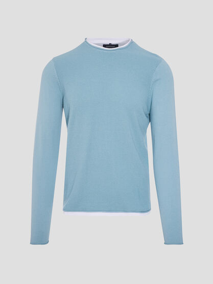 Pull manches longues bleu turquoise homme
