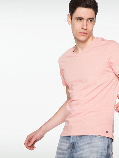 T shirt manches courtes rose homme