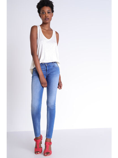 Jeans skinny a 2 boutons denim used femme