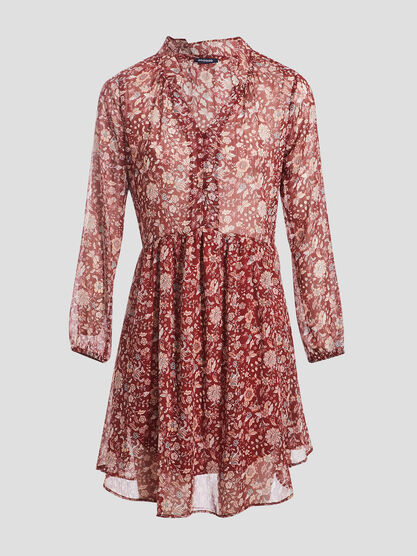 Robe evasee col a volants bordeaux femme