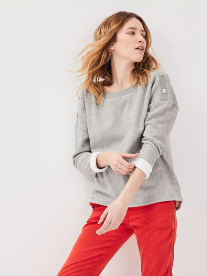 Sweat manches 34 boutons gris fonce femme