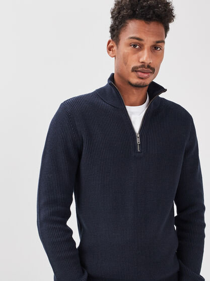 Pull manches longues zippe bleu fonce homme