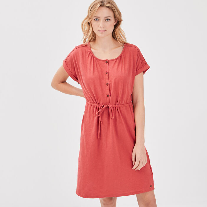 Robe droite taille à coulisse terracotta femme