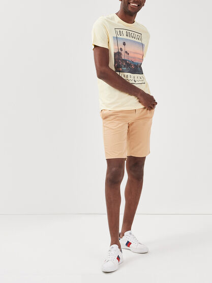 Short court a cordons rayes beige homme
