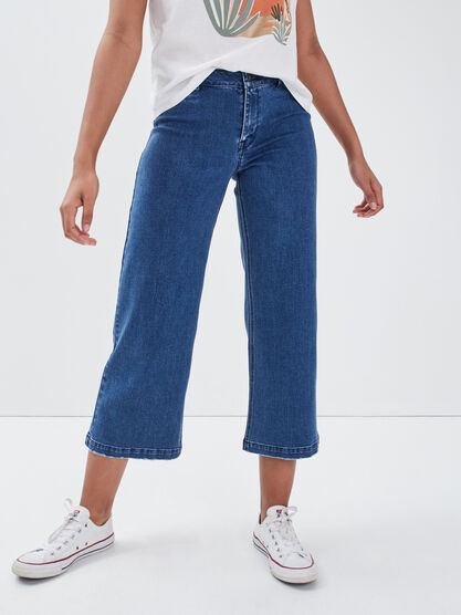 Jeans bootcut taille standard denim stone femme
