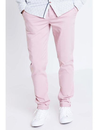 pantalon chino slim homme instinct rose clair